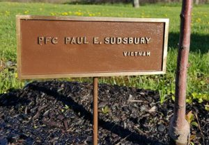 Dedication plaque for PFC Paul E. Sudsbury
